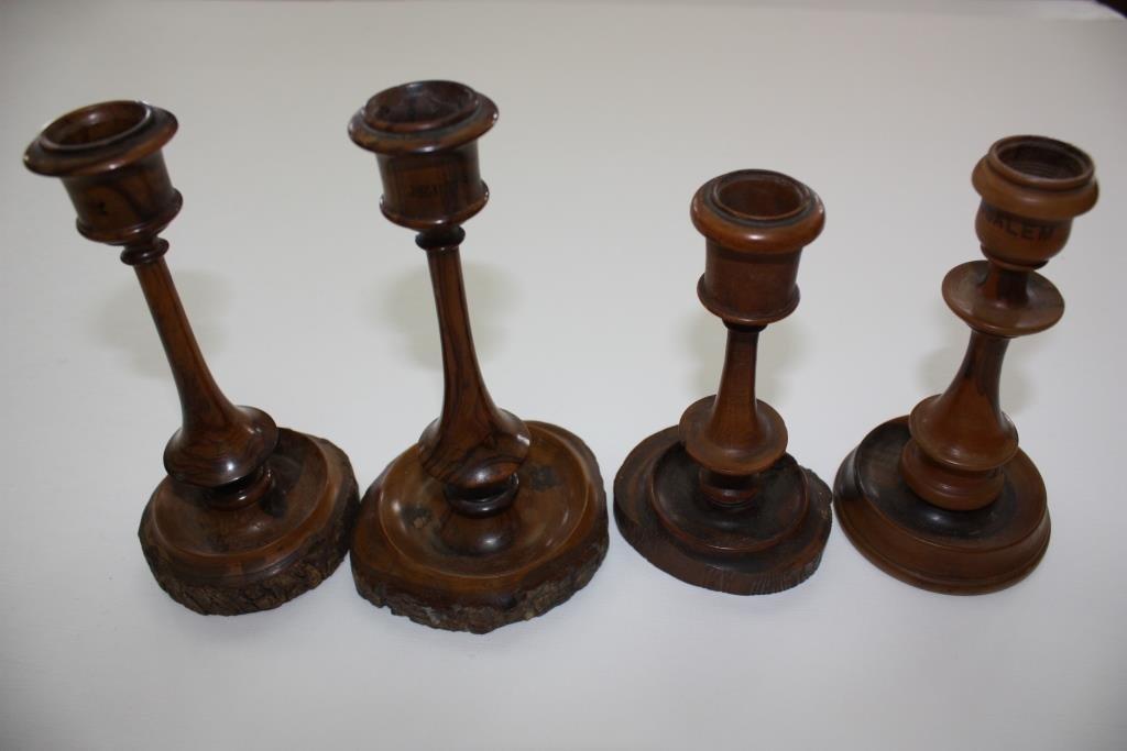 Collection of Old Olive Wood Candlesticks - Jerusalem - 2