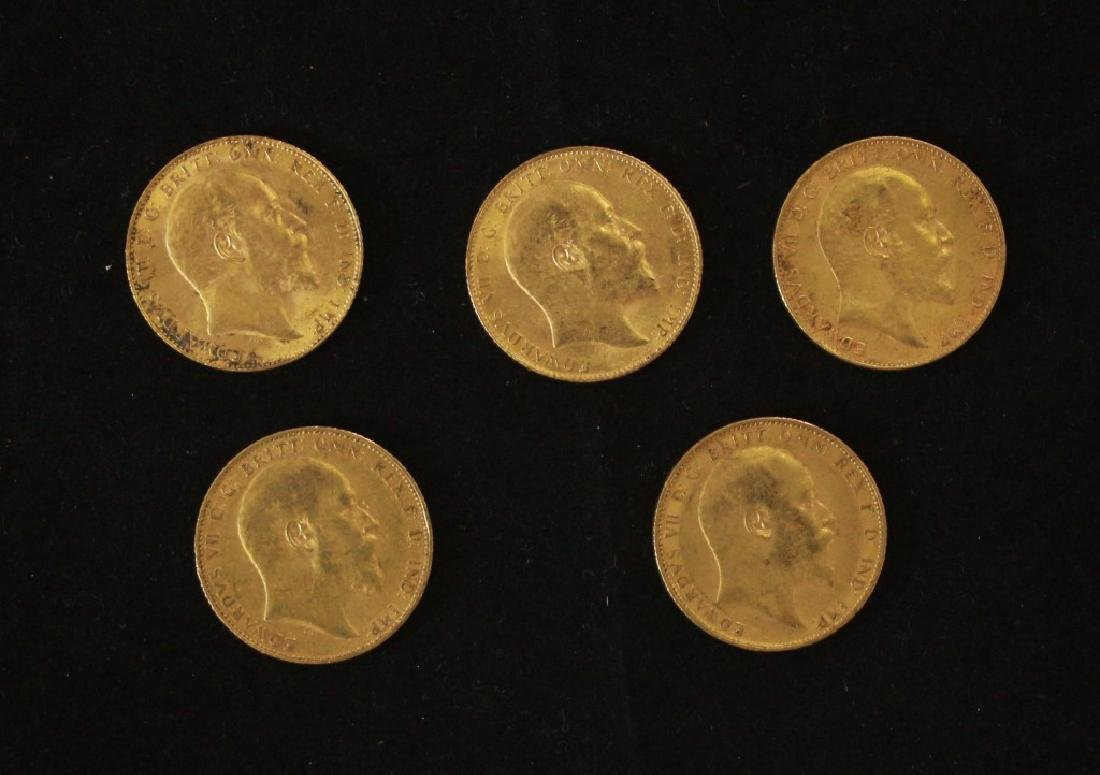 5 Golden Coins Sovereigns - 1904, 1906, 1906, 1907,