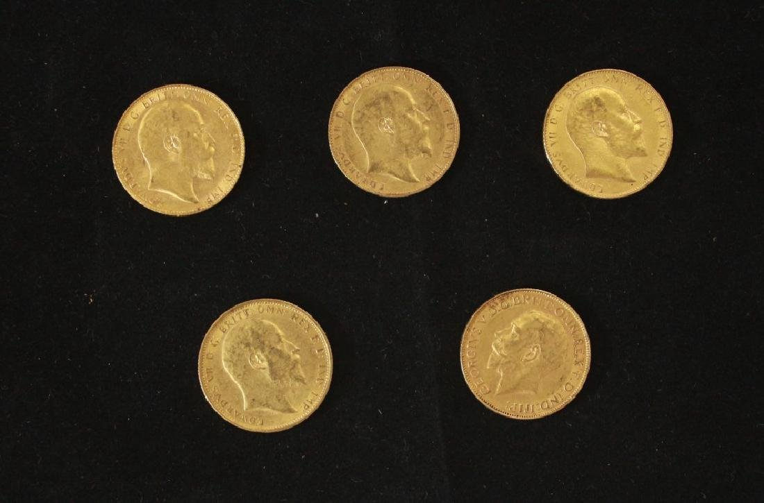 5 Golden Coins Sovereigns - 1906, 1908, 1908, 1909,