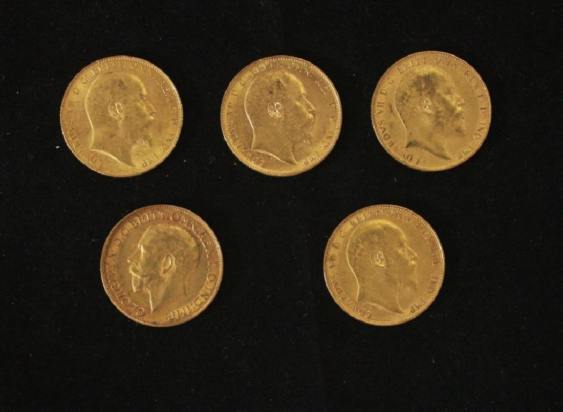 5 Golden Coins Sovereigns - 1906, 1906, 1907, 1908,