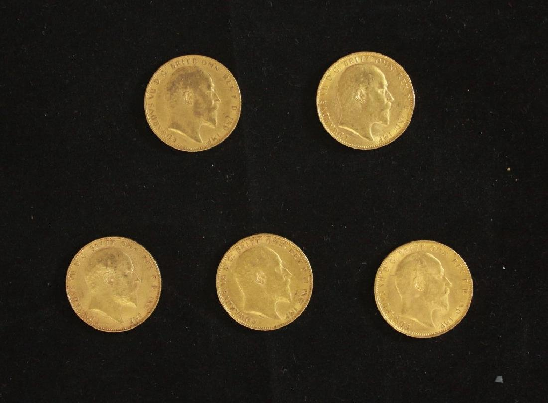 5 Golden Coins Sovereigns - 1904, 1906, 1907, 1907,