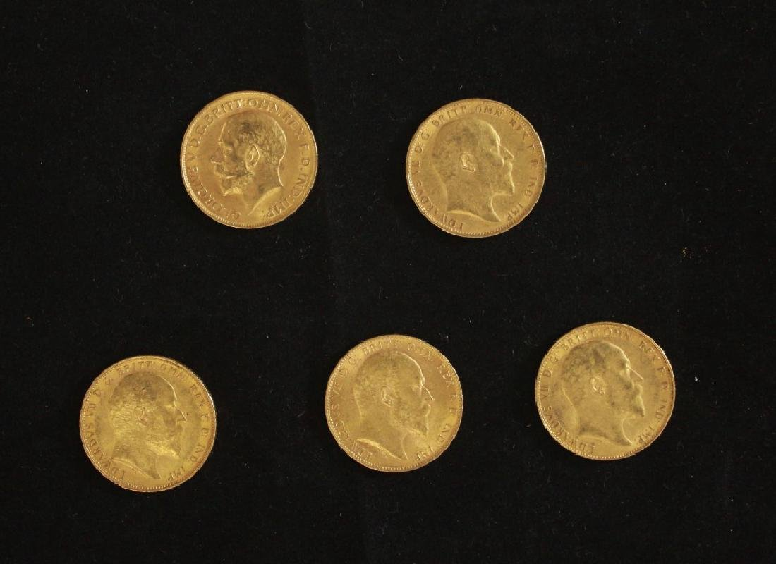 5 Golden Coins Sovereigns - 1902, 1903, 1905, 1908,