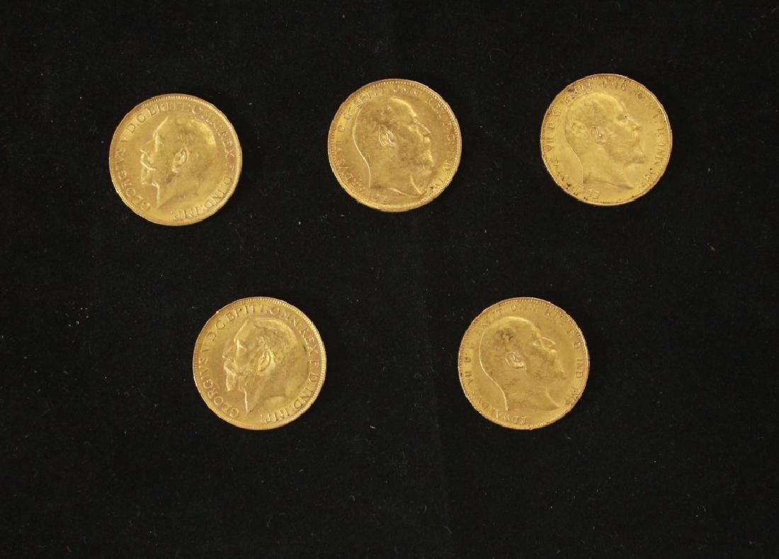 5 Golden Coins Sovereigns - 1908, 1908, 1908, 1923,