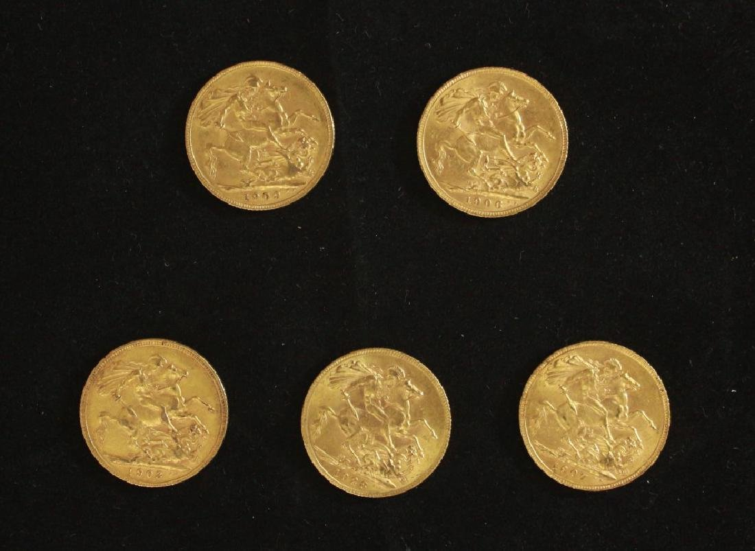 5 Golden Coins Sovereigns - 1903, 1906, 1907, 1909,