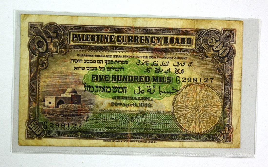 Banknote of 500 Mil - Palestine Currency Board, 1939,