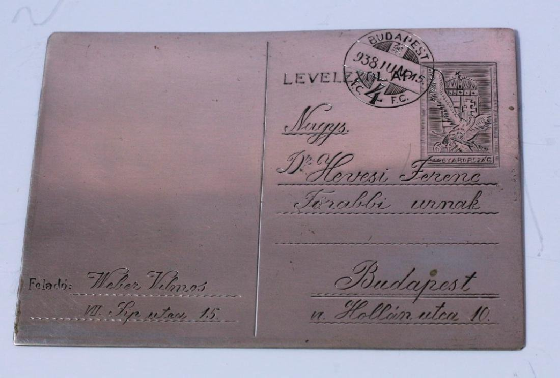 Postcard made of Silver - Dedication in Honor of the