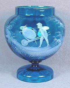 6: MARY GREGORY STYLE PEDESTAL VASE,BLUE GLASS