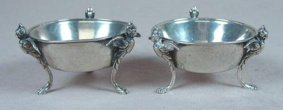 8: PAIR OF COIN SILVER 3 FOOTED SALT DISHES