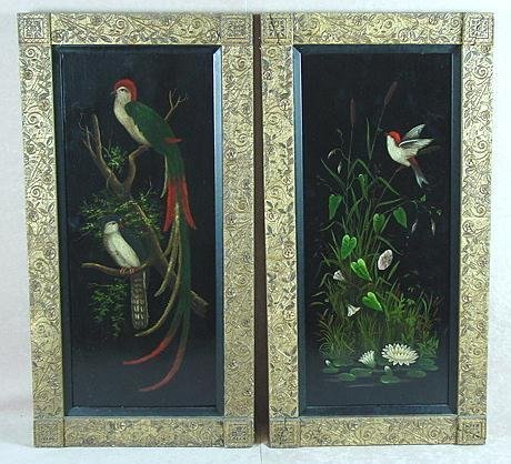 16: PAIR OF ESTHETIC STYLE PAINTINGS OF BIRDS