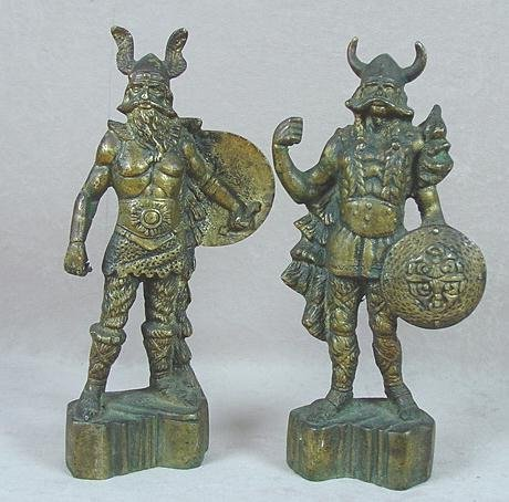 21: PAIR OF SOLID BRASS VIKING STATUES