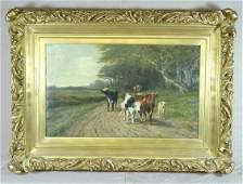 210 AE PRINZ OIL ON CANVAS COWS ON A DIRT ROAD