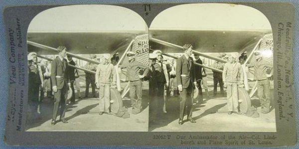 324: STEREO CARD,  KEYSTONE,  LINDBERGH with Plane
