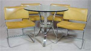 469: 60'S CHROME AND GLASS TABLE;  Chas. STENDIG Design