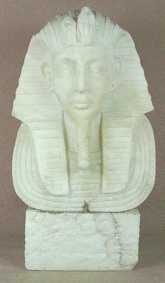 6: CARVED MARBLE BUST OF KING TUTANKHAMUN