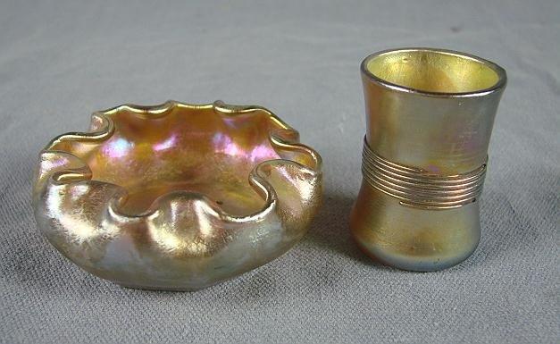 48: Tiffany Gold Favrile Salt & Shot Cup