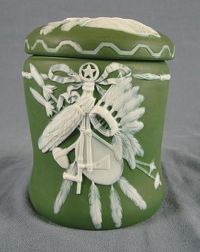 50A: Jasperware Covered Jar, Indian Chief