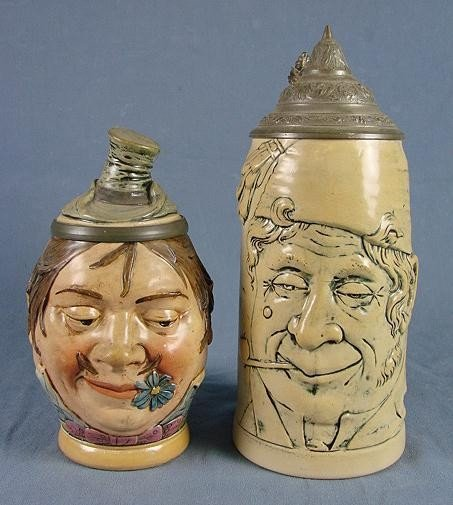 """52: 2 German Pottery """"Face"""" Steins"""