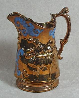 313: COPPER LUSTER PITCHER, ENGLAND, 19TH C