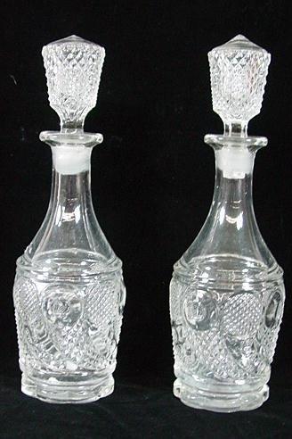 314: PR. OF CORNUCOPIA  BLOWN GLASS DECANTERS