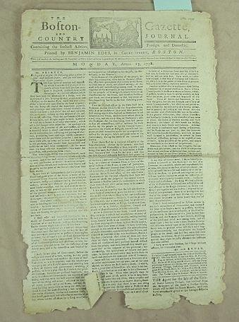 3:  Boston Gazette, and Country Journal, 1778