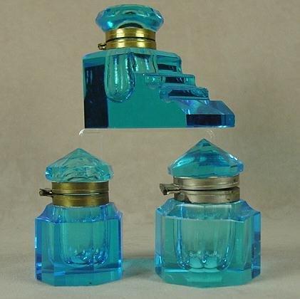 322: 3 ELECTRIC BLUE GLASS INKWELLS