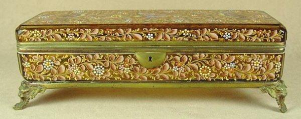 361: ENAMELED AMBER GLASS JEWEL BOX