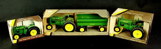 3 Nice John Deere 1930's Model Tractor Toys by Ertl