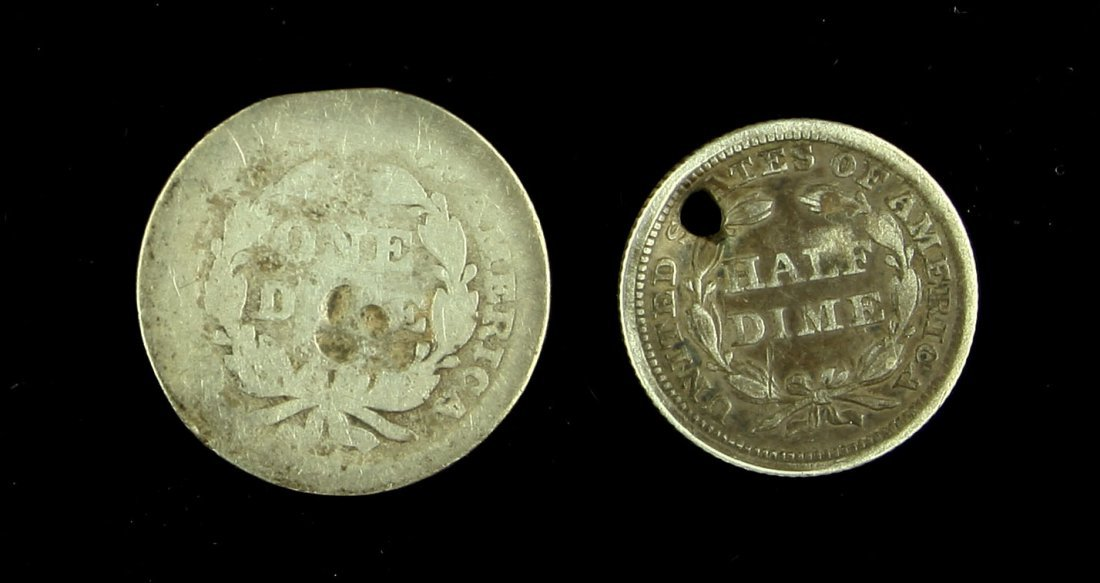 1858 Half Dime and 1857 Dime Perforated for Wear - 2