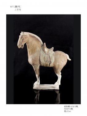 Tang, Sancai Glazed Pottery Figure Of A Horse.