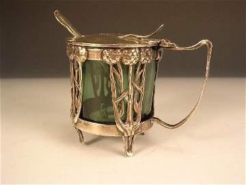 344: ART NOUVEAU GREEN GLASS LINED SILVER MUSTARD POT