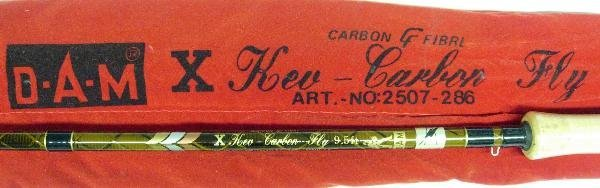 1022: D.A.M - KEV CARBON TROUT FLY ROD, 2PCE, 9FT 6IN