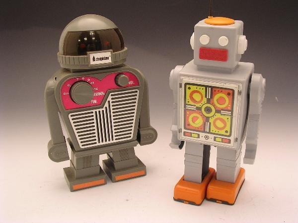 2025: TWO TOY ROBOTS, ONE BY STEEPLETONE, HONG KONG AND