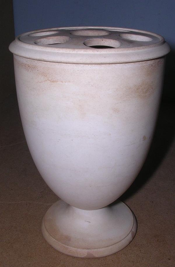 1: A CREAMWARE VASE WITH PIERCED COVER