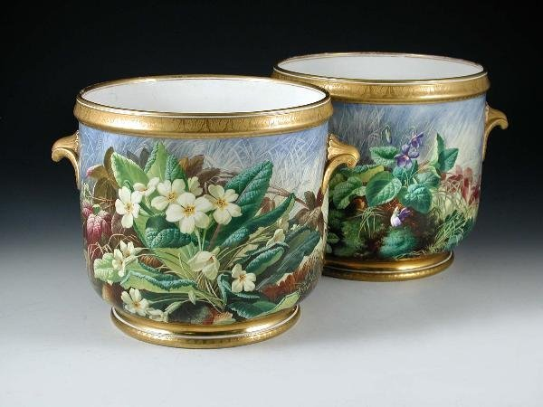 48: A PAIR OF COPELAND CACHE POTS FINELY PAINTED BY
