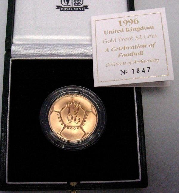 407: GOLD PROOF £2, CASED, 1996