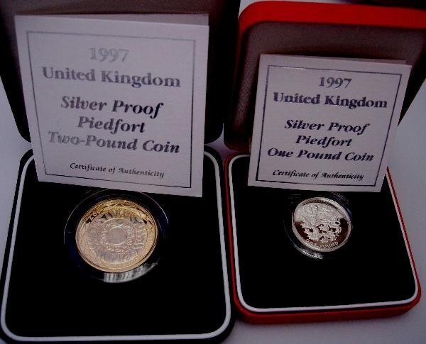 408: SILVER PROOF 1997 PIEDFORT £2 & £1, CASED