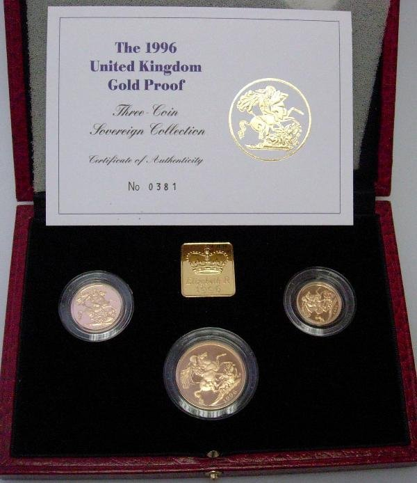 409: UK GOLD PROOF 1996, 3 COIN SET, CASED