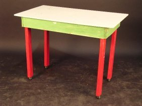 A HOME-MADE AND PAINTED TABLE