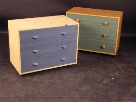 669: A MODERN THREE DRAWER CHEST, WITH BLUE STAINED