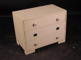 A PAINTED AND ADAPTED CHEST OF THREE DRAWERS