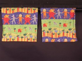 674: A PAIR OF HOME-MADE CURTAINS, THE CHILDRENS FABRIC