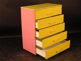 676: A PAINTED CHEST OF FIVE DRAWERS