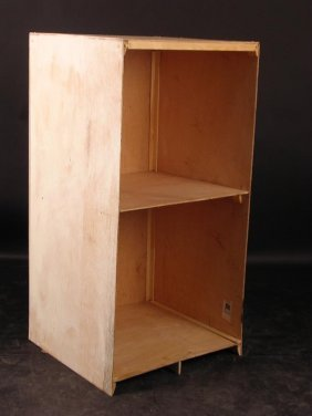 A HOME-MADE PLYWOOD SHELVING UNIT