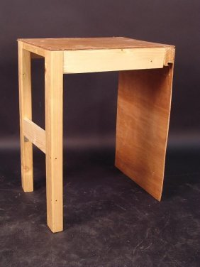 680: A HOME-MADE SIDE TABLE, THE PLYWOOD TOP WITH PINE