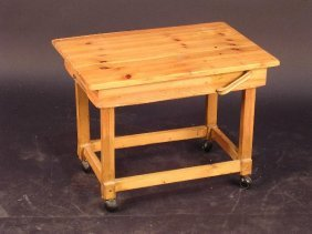 681: A HOME-MADE PINE COFFEE TABLE, THE RECTANGULAR
