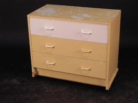 A MODERN PAINTED & MODIFIED CHEST OF THREE DRAWERS
