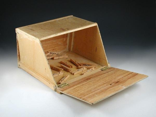 738: A HOME-MADE BREAD BIN, CONSTRUCTED FROM PLYWOOD