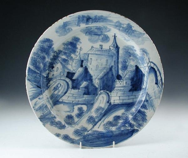 7: DELFT LONDON BLUE AND WHITE CHARGER TOWN SCENE