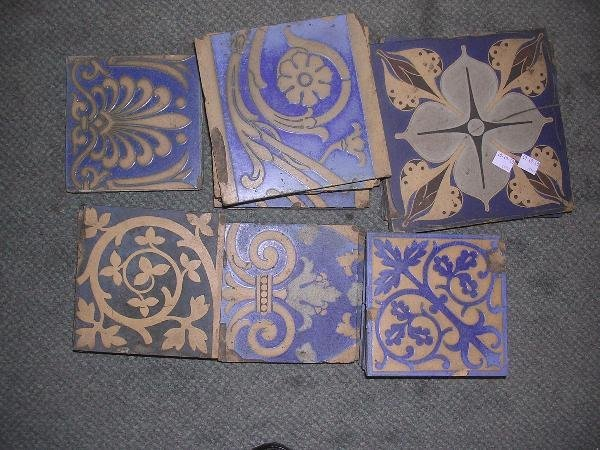 17: FIFTEEN MINTON AND OTHER ENCAUSTIC TILES WORKED