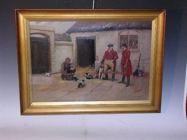 1255: W SHARROCKS 1919 HUNTSMAN WITH PUPPIES, OIL